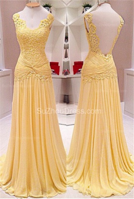 Backless Lace A-Line Evening Dresses  Ruffles Sweep Train Prom Gowns_1