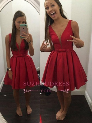 Bowknot Red V-neck Simple Sleeveless  Short Straps Sash Homecoming Dress_1