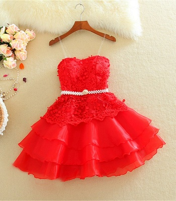 Lovely Mini Peach Homecoming Dresses Organza Sweet Multi-Layered Evening Dress_3