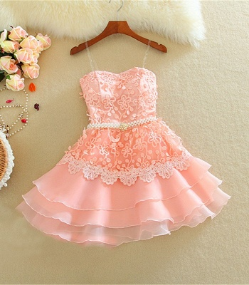 Lovely Mini Peach Homecoming Dresses Organza Sweet Multi-Layered Evening Dress_4