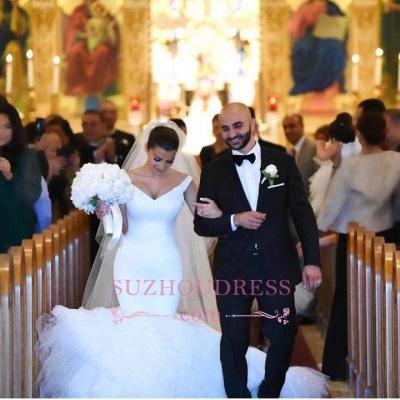 Gorgeous Mermaid V-Neck White Tulle Wedding Dress_1