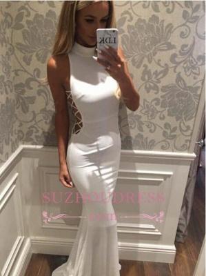 Sweep Train High Neck White Sleeveless Mermaid Zipper Modern  Prom Dress_4