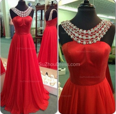 Sexy Red Scoop Prom Gowns  A-Line Sweep Train Evening Dresses with Beadings_2