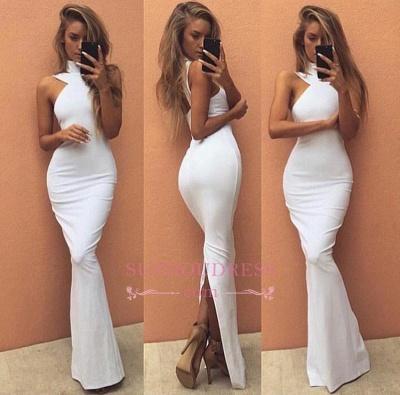 Sleeveless Sexy Long High Neck White   Prom Dress BA4800_1