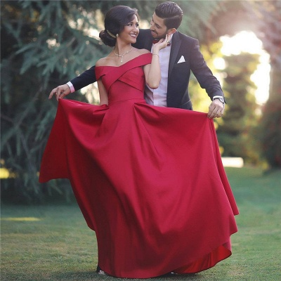 Red Off-the-shoulder Sleeveless Long Evening Dresses  Charming Discount Prom Gown BA3926_3