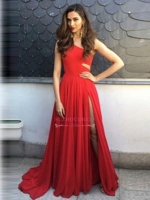 Simple Red One-Shoulder Prom Dresses | Side-Slit Sleeveless Evening Dresses_4