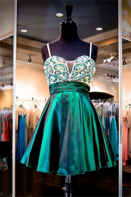Straps Green Beaded Short Evening Dresses Stretch Satin Turquoise  Homecoming Dress_1