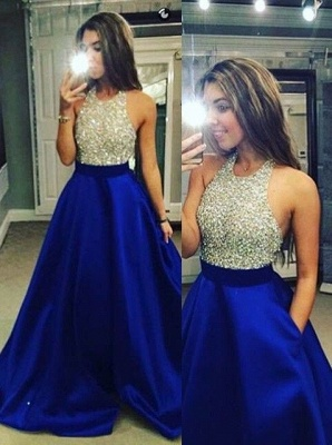 New Arrival Halter Beading Prom Dress Latest A-Line Sweep Train Formal Occasion Dress_5