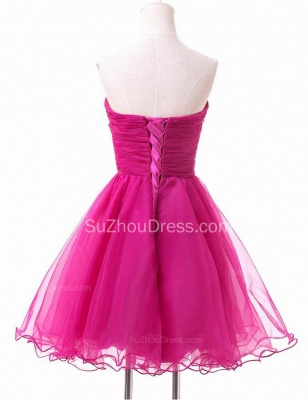 A-Line Crystal Rose Sweetheart Mini Homecoming Dress Latest  Organza Short Cocktail Dress_2