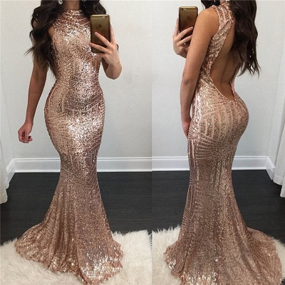 Sexy Sequin Evening Dress Floor Length Open Back  Prom Dress_3