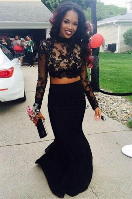 Long Sleeve Two Pieces Prom Dresses  Black Lace Mermaid High Neck Evening Gowns CE0038_1