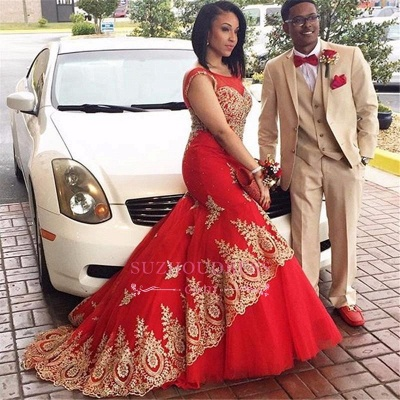 Red Tulle Gold Appliques Evening Gowns Sleeveless Mermaid  Prom Dress BA4560_1