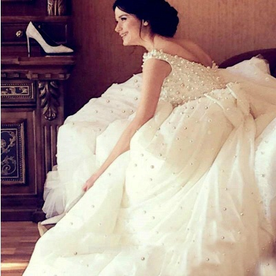 Princess Wedding Dresses Ball Gown Pearls Open Back Chapel Train Bridal Gowns_6