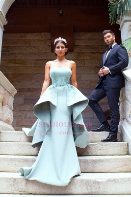 Elegant Applique Long Mermaid Strapless Bridesmaid Dress with Detachable Train_1