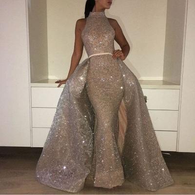 Glamorous Mermaid High-Neck Evening Dresses  Sleeveless Overskirt Prom Dresses_3