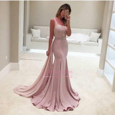 Backless Elegant Ruffles Mermaid One-Shoulder Crystal Prom Dress BA3981_1
