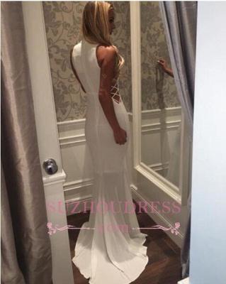 Sweep Train High Neck White Sleeveless Mermaid Zipper Modern  Prom Dress_3
