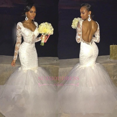 Sexy Backless Long-Sleeve Bridal Gowns    Lace Mermaid Wedding Dress_1