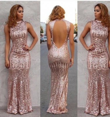 Sexy Sequin Evening Dress Floor Length Open Back  Prom Dress_2