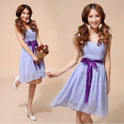 Lavender  Homecoming Dresses  Sweetheart Chiffon Bow Sash School Party Dress_2