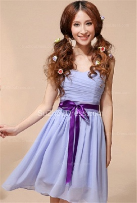 Lavender  Homecoming Dresses  Sweetheart Chiffon Bow Sash School Party Dress_1