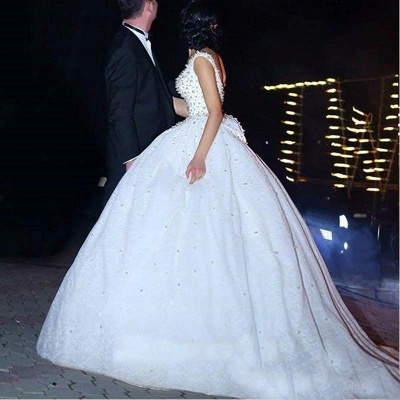 Princess Wedding Dresses Ball Gown Pearls Open Back Chapel Train Bridal Gowns_4