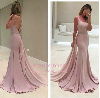 Backless Elegant Ruffles Mermaid One-Shoulder Crystal Prom Dress BA3981_4