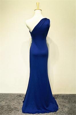 One Shoulder Crystal Blue Mermaid Long Prom Dress Elegant Sweep Train Formal Affordable Evening Gown_2