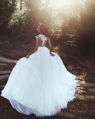 Lace Appliques Chiffon Wedding Dresses Sexy |  Front Slit sheer Cheap Bride Dress_3