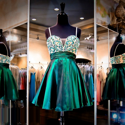 Straps Green Beaded Short Evening Dresses Stretch Satin Turquoise  Homecoming Dress_3