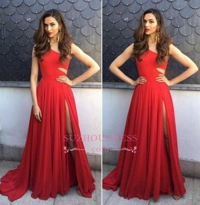 Simple Red One-Shoulder Prom Dresses | Side-Slit Sleeveless Evening Dresses_3