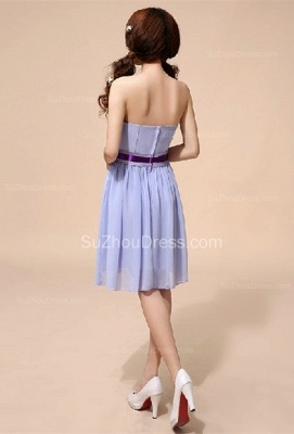 Lavender  Homecoming Dresses  Sweetheart Chiffon Bow Sash School Party Dress_4