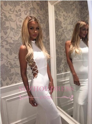 Sweep Train High Neck White Sleeveless Mermaid Zipper Modern  Prom Dress_1