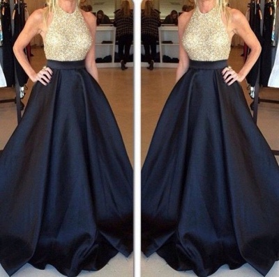 New Arrival Halter Beading Prom Dress Latest A-Line Sweep Train Formal Occasion Dress_3