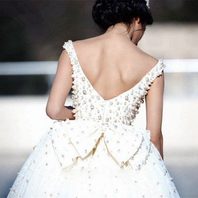 Princess Wedding Dresses Ball Gown Pearls Open Back Chapel Train Bridal Gowns_3