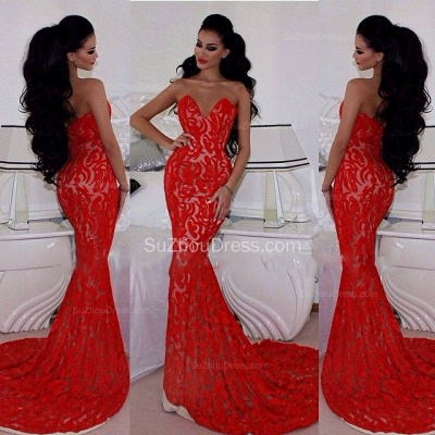 Charming Red Prom Dresses Sweetheart Memraid Ruffles Sleeveless Sexy Lace Sweetheart Evening Gowns_2