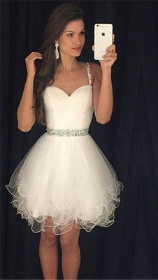 Homecoming Dress  Straps Beading Puffy Organza Party Dress with Crystal Belt BA3623_1