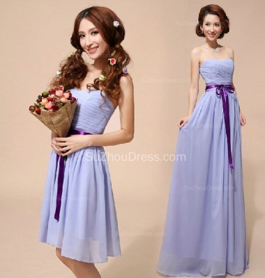 Lavender  Homecoming Dresses  Sweetheart Chiffon Bow Sash School Party Dress_3