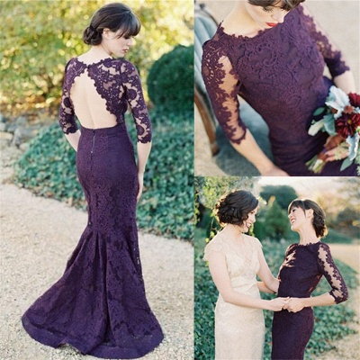Half Sleeves Open Back Grape Lace Evening Dresses  Elegant Mermaid Wedding Party Dress_3