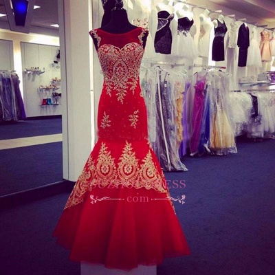 Red Tulle Gold Appliques Evening Gowns Sleeveless Mermaid  Prom Dress BA4560_4