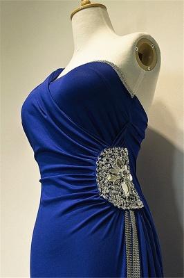 One Shoulder Crystal Blue Mermaid Long Prom Dress Elegant Sweep Train Formal Affordable Evening Gown_3