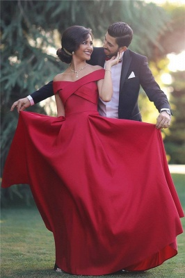 Red Off-the-shoulder Sleeveless Long Evening Dresses  Charming Discount Prom Gown BA3926_1