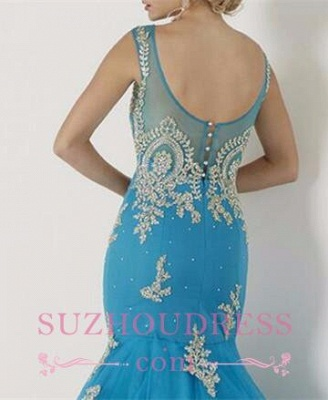 Red Tulle Gold Appliques Evening Gowns Sleeveless Mermaid  Prom Dress BA4560_5