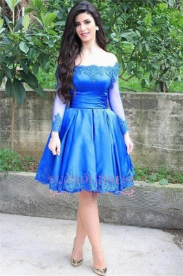 Lace Long Sleeve Blue Elegant Knee Length Off-the-shoulder Appliques Homecoming Dress_1