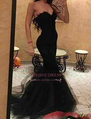 Tulle Mermaid Formal Evening Dress  Sweetheart Simple Black Prom Dress_3