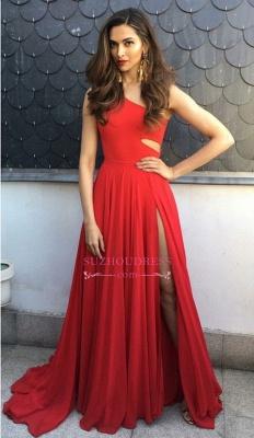 Simple Red One-Shoulder Prom Dresses | Side-Slit Sleeveless Evening Dresses_1