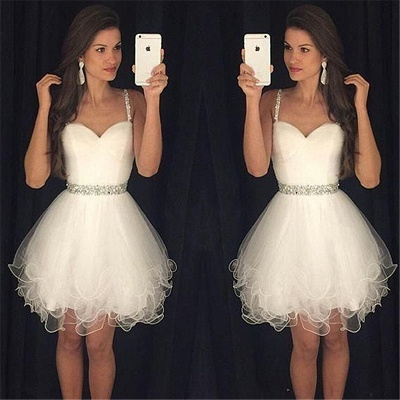 Homecoming Dress  Straps Beading Puffy Organza Party Dress with Crystal Belt BA3623_3