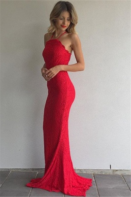 Simple Red Lace Prom Dresses Sheath Spaghetti Straps Evening Gowns_1