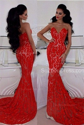 Charming Red Prom Dresses Sweetheart Memraid Ruffles Sleeveless Sexy Lace Sweetheart Evening Gowns_1