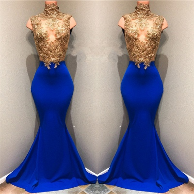 Gold Lace Appliques  Prom Dresses | High Neck Mermaid Royal Blue Evening Gown BA8174_3